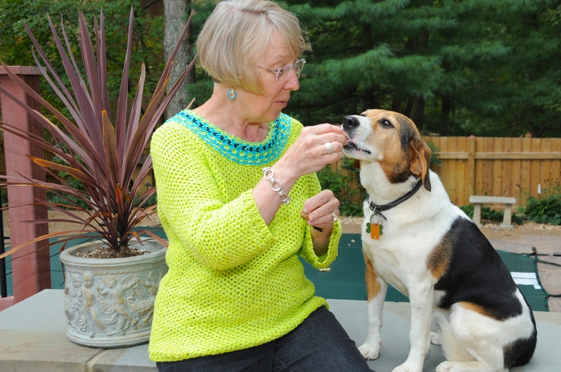 """Diantha and her dog, Brody M. Beagle. The """"M"""" stands for """"Mostly."""""""